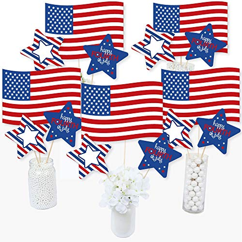 Fourth Of July Centerpieces (Big Dot of Happiness 4th of July - Independence Day Centerpiece Sticks - Table Toppers - Set of)