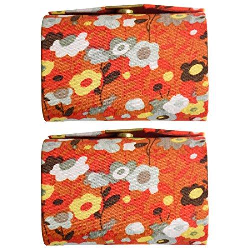 Orange Double Floral Ladies Lipstick Case with Mirror Purse Lip Stick Holder - Set of 2 by Motique Accessories