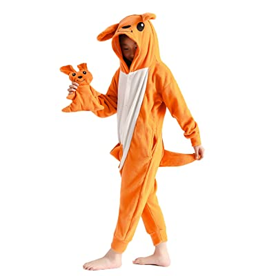 Kids Unisex Animal Onesie Pajamas Cosplay Halloween Costume Orange Kangaroo Gifts: Clothing