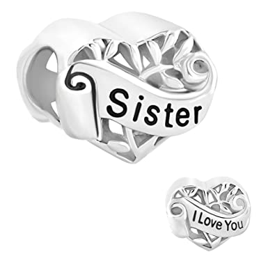 c7ea7dad6 Sister Heart Sterling Silver Jewelry I Love You Filigree Tree Of Life Charms  Sale Cheap Fit Pandora Bracelet: Amazon.ca: Jewelry