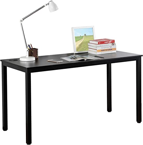 It's_Organized Study Computer Desk 55″ Home Office Writing Desk,Modern Simple Style PC Table,Easy to Assemble,Metal Frame,Black