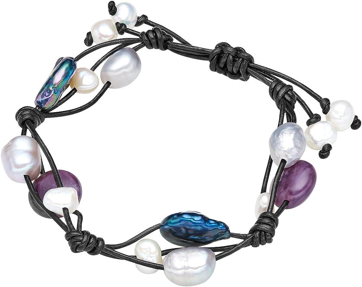 Valero Pearls - Pulsera de cuero embellecida con Perlas de agua dulce - Cuero - Pearl Jewellery, Pulsera de cuero con Amatista, Pulseras, Collar de cuero, Pulsera de Cuero - 60020120