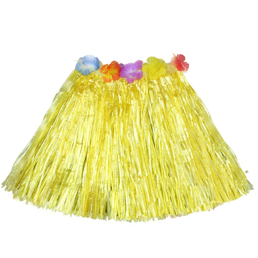Luau Beach Party Halloween Costume Party Hawaiian Dance Hula Skirt Grass Skirt, Yellow(pack of 3)