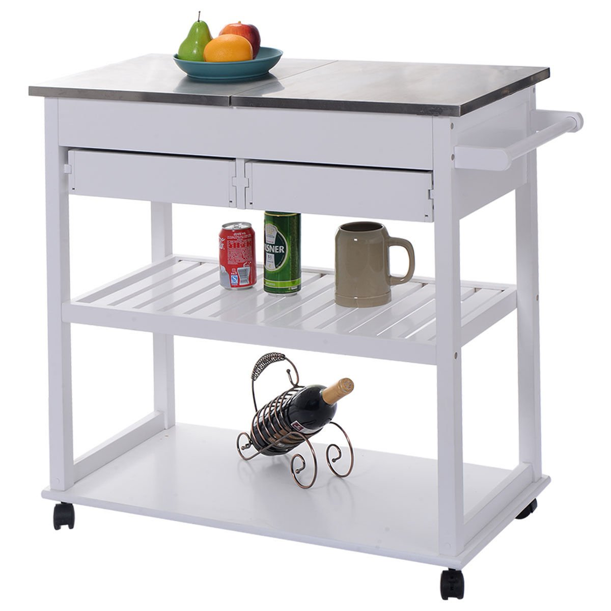 amazon com giantex white rolling kitchen trolley cart stainless amazon com giantex white rolling kitchen trolley cart stainless steel flip top w drawers casters kitchen islands carts