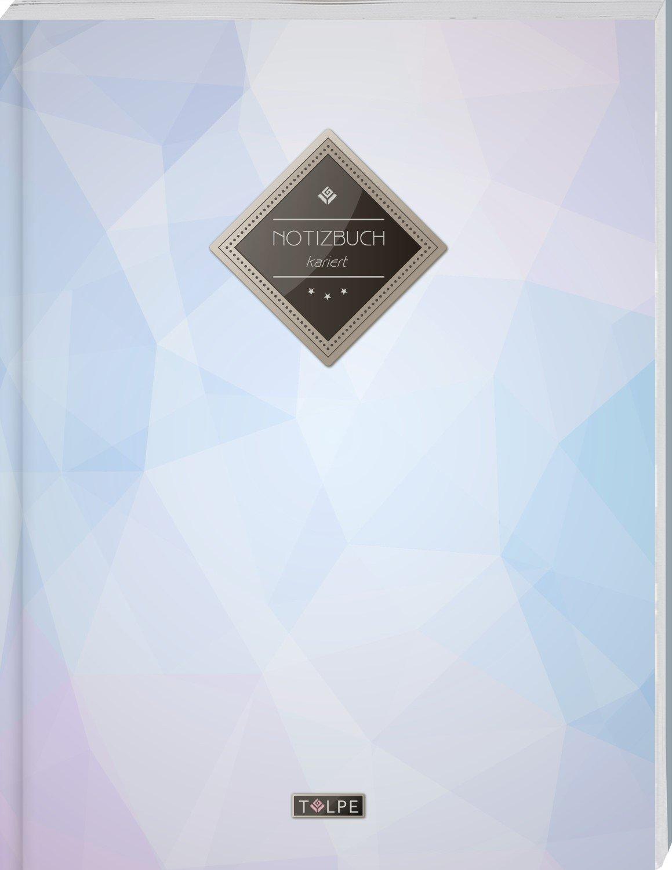 """TULPE Kariertes Notizbuch A4 """"C108 Himmelblau"""" (140+ Seiten, Vintage Softcover, Doppelrand, Seitenzahlen, Register - Dickes Notizheft, Matheheft, ... Schulheft, Tagebuch, Kariertes Heft Nr 26)"""