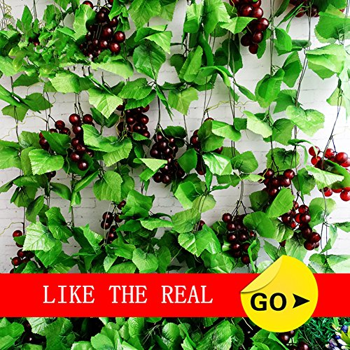 Meiliy 8 Ft Artificial Greenery Chain Grape Ivy Leaves + Artificial Grapes Vine Foliage Simulation Flowers Plants For Home Room Garden Wedding Garland Outside Decoration,Pack of 5