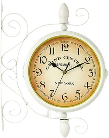 HOZ Reloj de pared retro de doble cara, reloj de exterior para el jardín, resistente a la intemperie, silencioso y sin tictac, apto para jardines, terrazas, interiores, bares: Amazon.es: Hogar
