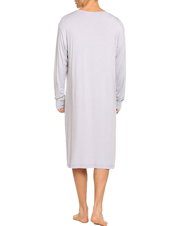Ekouaer Sleepwear Mens Nightshirt Long Sleeve Cotton Pajamas Comfy Loose Long Sleep Shirt S-XXL EKK009707