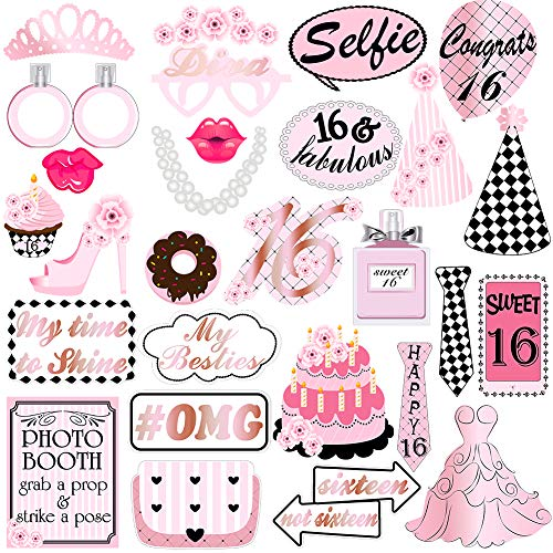 Sweet 16 Birthday Party Photo Booth Props Kit For 16th Birthday Party Supplies Decorations-28 Count