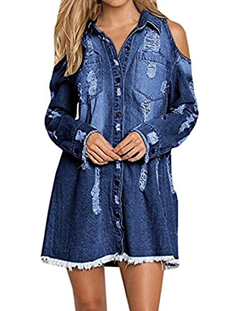 7933f31b34 Sibylla Womens Cold Shoulder Ripped Distressed Denim Shirt Dress Long  Sleeve Button Down Chambray Blouse(PLS Size Down) at Amazon Women s  Clothing store