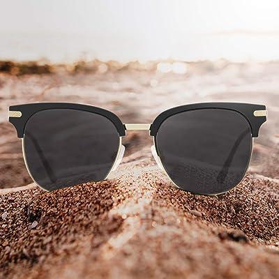 Avoalre Gafas de Sol Retro Medio Marco Clásico UV400 con Remaches Metálicos para Hombre y Mujer Negro: Hogar