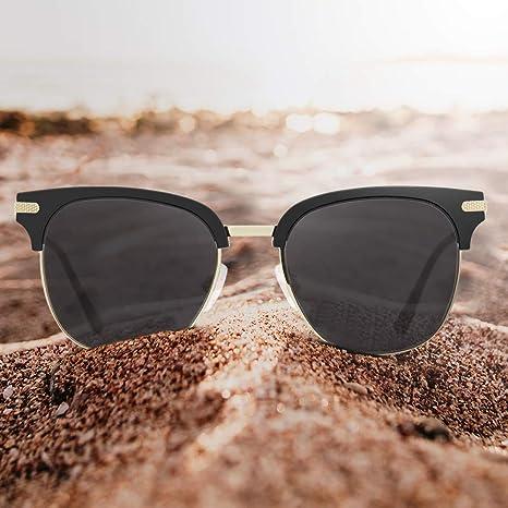 Avoalre Gafas de Sol Retro Medio Marco Clásico UV400 con Remaches Metálicos para Hombre y Mujer Negro
