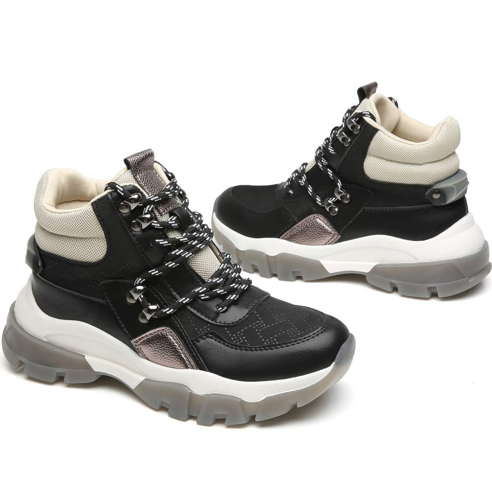 Cestfini Hiking Boots Chunky Sneakers for Women Non-Slip High Top Shoes Fashion Casual Platform Wedge Sneakers Women Ella-Black-6