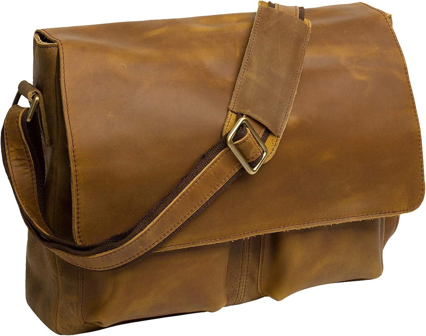 Polare Men s Retro Full Grain leather Laptop Crossbody Messenger Shoulder Bag Satchel