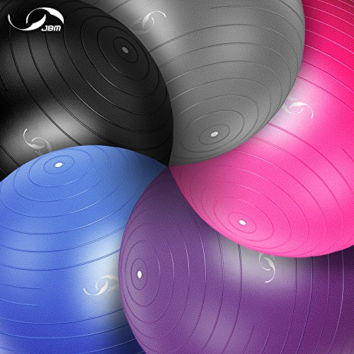 JBM Exercise Yoga Ball with Free Air Pump (4 Sizes 5 Colors) 400 lbs Anti-Burst Slip-Resistant Yoga Balance Stability Swiss Ball for Fitness Exercise Training Core Strength (Black, 60cm-65cm) by JMB (Image #8)