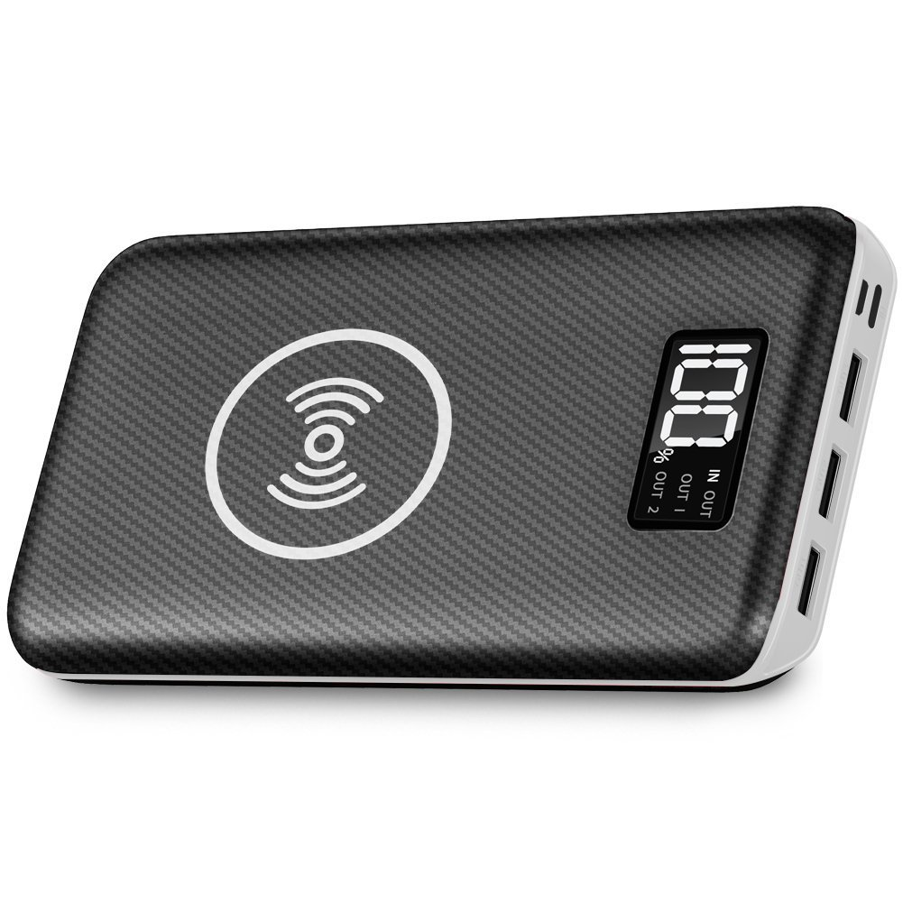 Portable Charger Power Bank,KEDRON 24000mAh Wireless Charger with LED Digital Display and 3 Outputs & Dual Inputs External Battery Pack for iPhone X,iPhone 8,Galaxy S8 Note 8 and More (White)