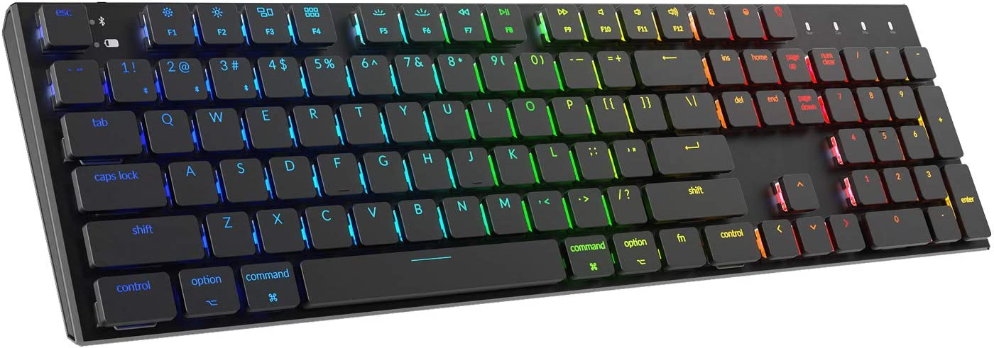 Keychron K1 Mechanical Keyboard,104 Key RGB Wireless Mechanical Keyboards with Gateron Low Profile Blue Switch/Anti Ghosting/N-Key Rollover,Wired Computer Keyboard for Mac and Windows-Version 3