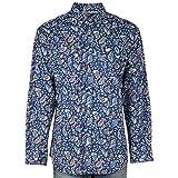 Cinch Men's Classic Fit Long Sleeve Button Two Flap Pocket Print Shirt, Navy, XL