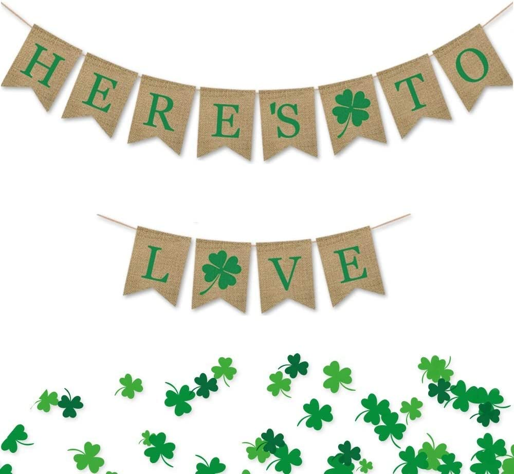 Mivanlin 2PCS Shamrock St. Patrick's Day Banner Burlap Flags Here's to Love Shamrock Burlap Wreath Ireland Holiday Party Decorations