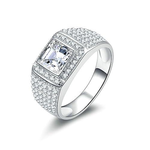 Daesar Joyería Anillo Compromiso de Plata Hombre, Brillantes Diamantes Halo de Talla Esmeralda Anillo de