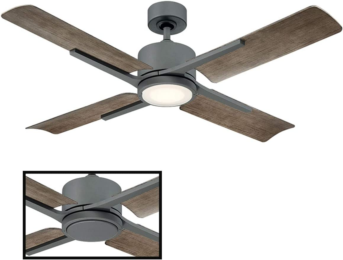 Cervates Indoor Outdoor 4-Blade Smart Ceiling Fan 56in Graphite with 3000K LED Light Kit and Wall Control works with iOS Android, Alexa, Google Assistant, Samsung SmartThings, and Ecobee