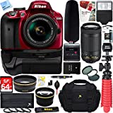 Nikon D3400 DSLR Camera + 18-55mm & 70-300mm Dual Lens Red Tascam Video Creator Bundle