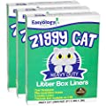 Ziggy Cat Litter Box Liners- Heavy Duty and Extra Thick Disposable Liners - Best For Large and Small Litter Boxes - 100% Pet Friendly - Pack of 15 Cat Litter Pan Liners by Easyology