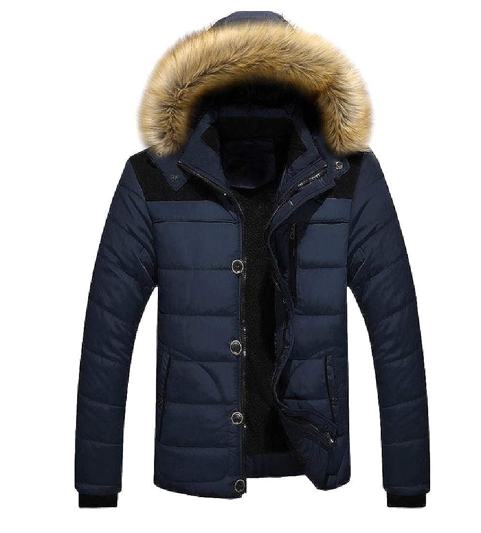 Comaba Men Warm Fur Collar Regular-Fit Plus-Size Windproof Coat Jacket