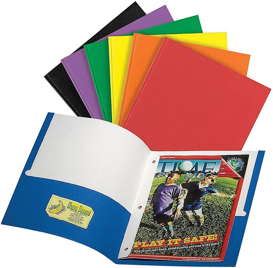 Office Depot Brand 3-Prong Portfolio with 2 Pockets, Assorted Colors