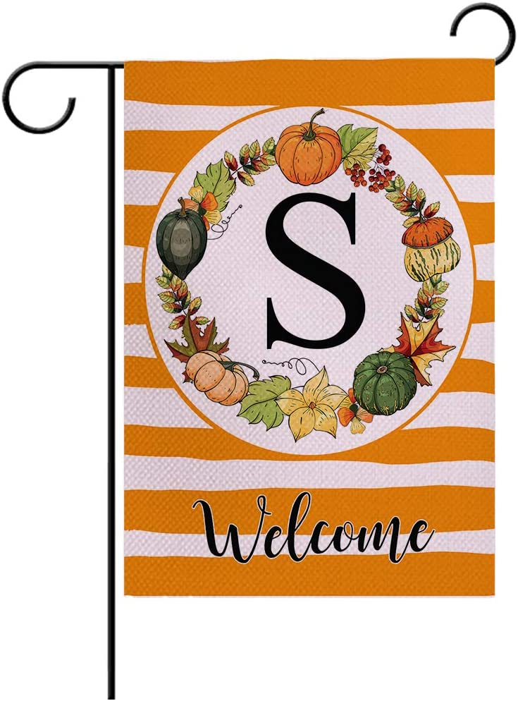 """7ColorRoom Autumn Decorative Garden Flags with Letter S/Pumpkin Wreath Double Sided Welcome Farmhouse Harvest Pumpkin House Yard Patio Outdoor Garden Flags Small Garden Flag 12.5"""" x 18"""" (Pumpkin S)"""
