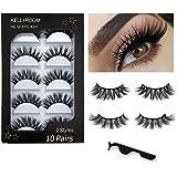 8e393411194 KellyRoom 3D Faux Mink Lashes Pack: 10 Pairs Dramatic Natural False  Eyelashes with Lash Applicator