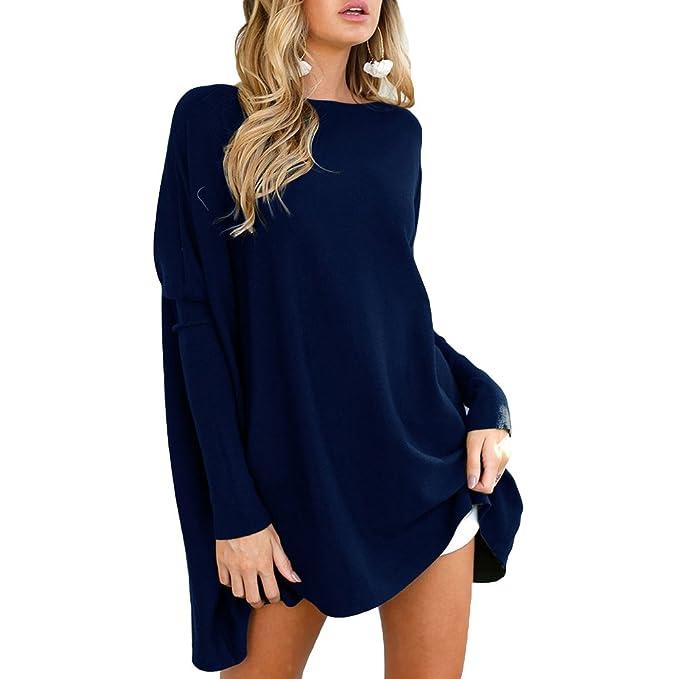 Suéter Mujer Blusas Otoño Camisas Cuello Barco Blusa Suelta Camiseta Larga Sudaderas Casual Trabajo Diario Negro