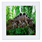 3dRose qs_4098_2 Dinosaurs Quilt Square, 6 by 6-Inch