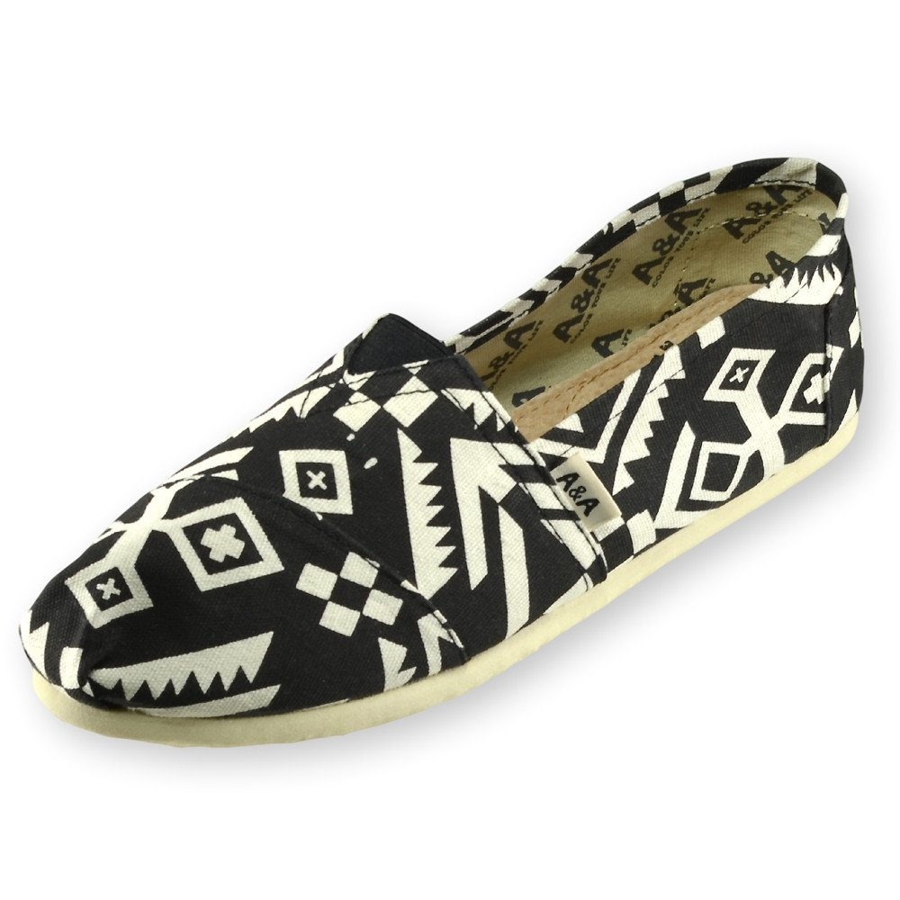 Amazon.com | A&A Black Slip-on Casual Flats Canvas Shoes Alpargatas for Women (Tribu) US5.5 | Fashion Sneakers