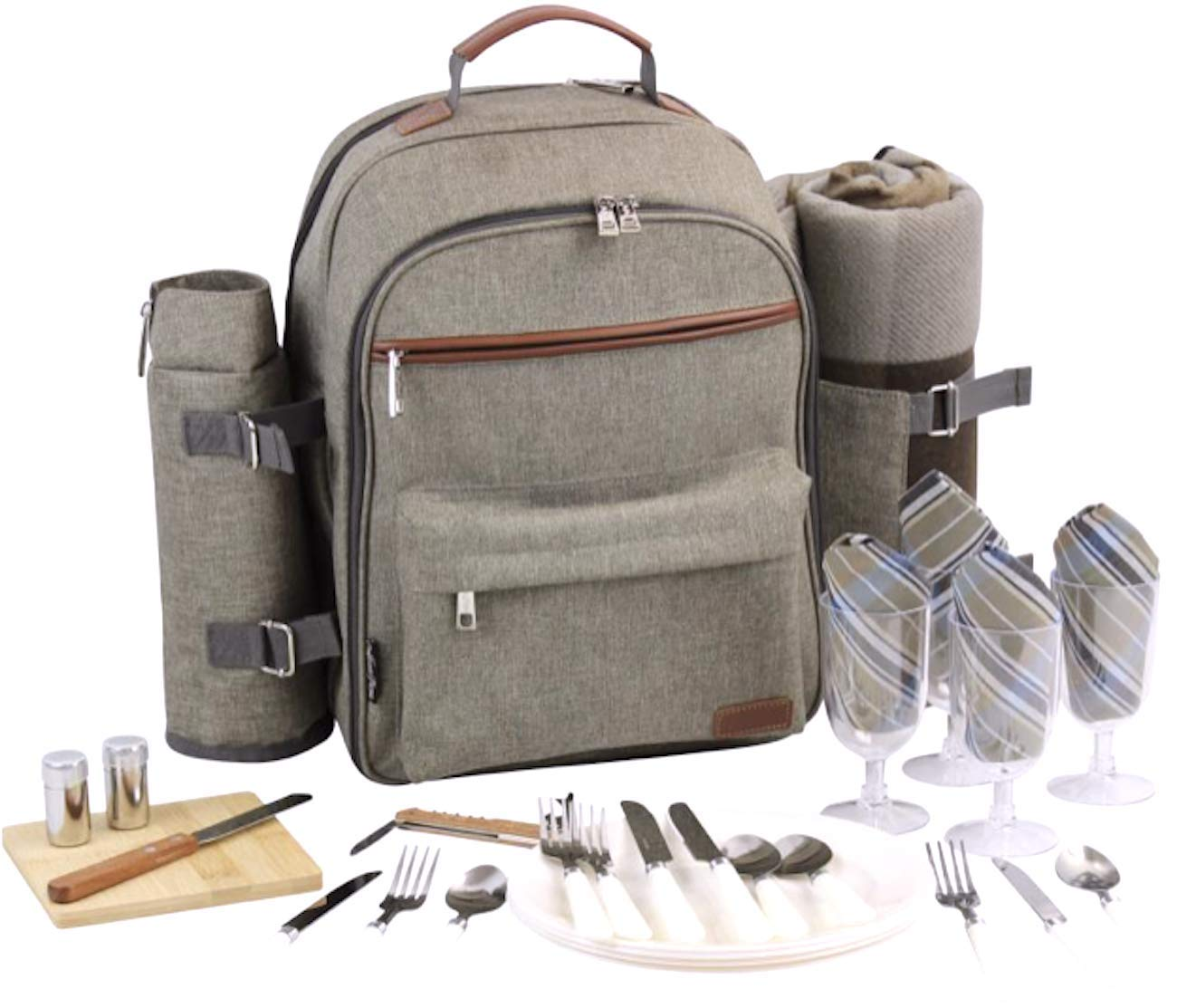 Picnic Backpack for 4   Picnic Basket   Stylish All-in-One Portable Picnic Bag with Complete Cutlery Set, Stainless Steel S/P Shakers   Picnic Blanket Waterproof Extra Large  Cooler Bag for Camping by CALIFORNIA PICNIC