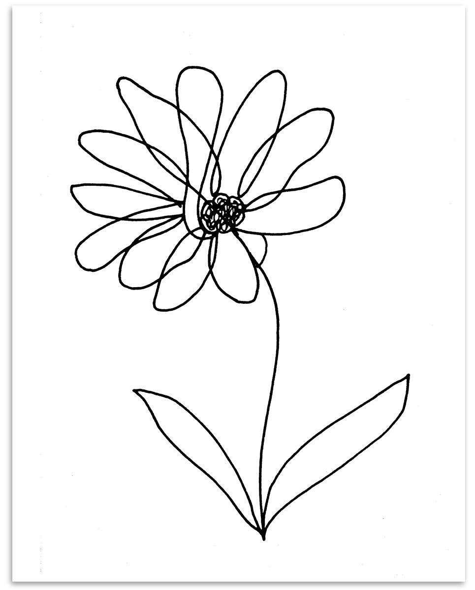 Amazon Com Daisy Flower Wall Art 11x14 Unframed Minimalist Black White Decor Print Makes A Great Gift Under 15 For Botanical Floral Lovers Handmade