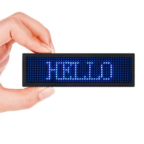Scrolling Name Tag MECO LED Moving Message Sign Business Card Label  Rechargeable ID Badge EZ Programming Display Dimmable Micro-USB Screen  48x12