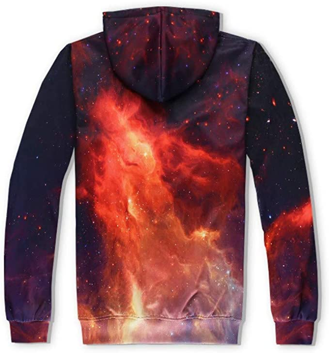 Mens Womens Flame Galaxy Printed Jogging Athletic Tracksuit Hip-hop Training Set