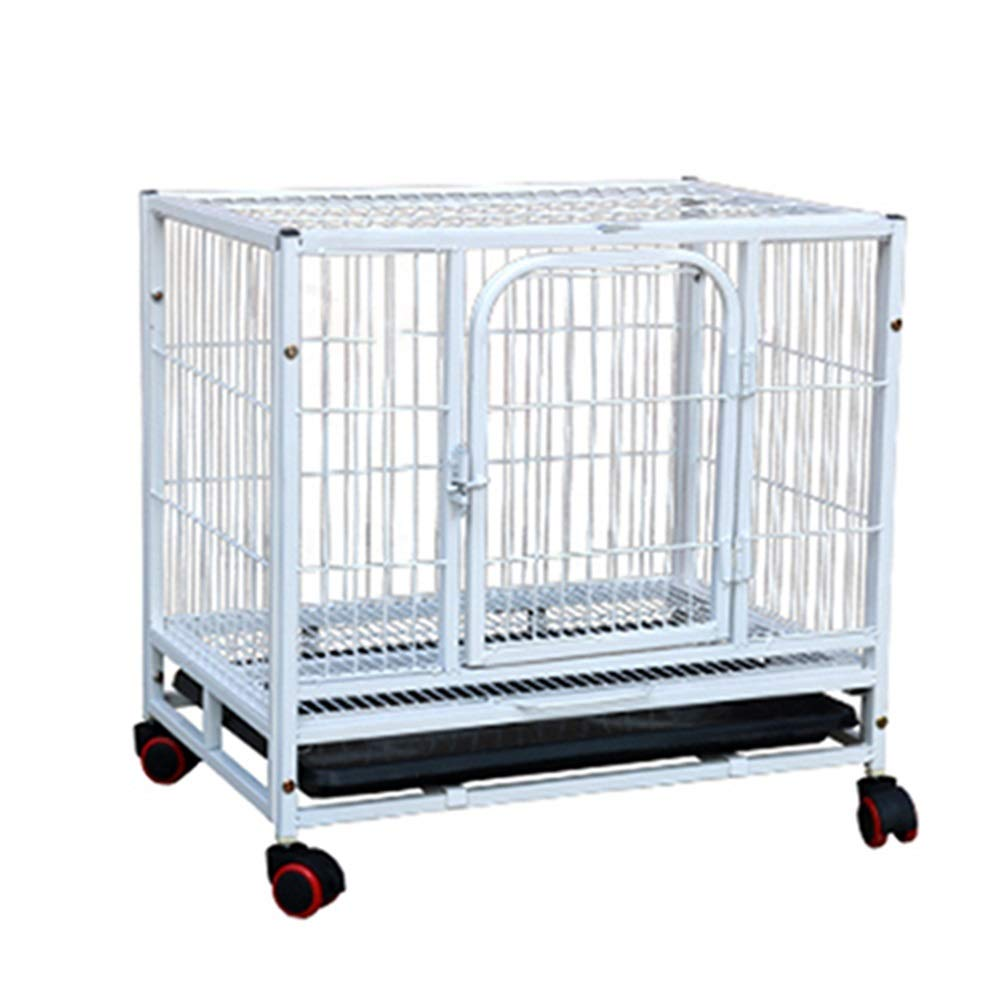 78×54×70cm Dog Cage Small Dog with Toilet Pet Cage Indoor Pet Supplies, Small Animal Playpens White (Size   78×54×70cm)