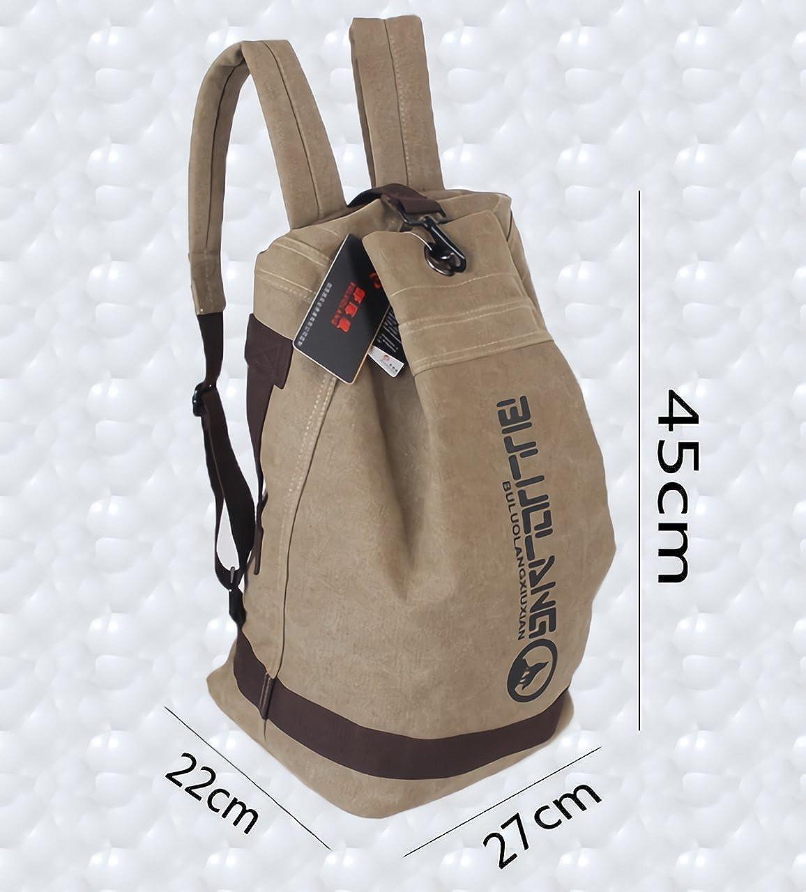 6089fe758353 Amazon | (ル・セリジエ) 大容量 キャンバス 地 リュック バッグ ミリタリー 調 帆布 内ポケット 2way (カーキ) | タウンリュック ・ビジネスリュック