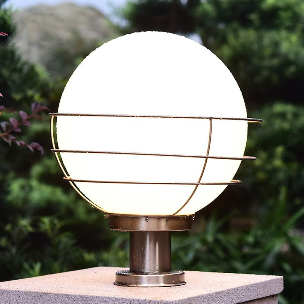 Rishx Klassische Acryl Kugel Spalte Lampe im Freien Rost Edelstahl Säule Lampe LED E27 Post Licht Tür Villa Hotel Dekoration Post Licht Terrasse Balkon Terrasse Veranda Licht (Größe : S-25 * 32CM)
