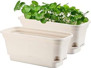 Self Watering Rectangular Flowerpot and Windowsill Herb Garden Planter, Set of 2, Decorative Pots for Plants, Succulents or Flowers