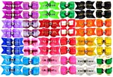 YOY 48PCS/24 Pairs Adorable Grosgrain Ribbon Pet Dog Hair Bows with Rubber Bands - Puppy Topknot Cat Kitty Doggy Grooming Hair Accessories Bow knots Headdress Flowers Set for Groomer
