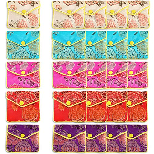 20 Pieces Embroidered Silk Jewelry Pouch Chinese Brocade Coin Purse Zipper Jewelry Pouch Gift Bags for Women Girls, 5 Colors