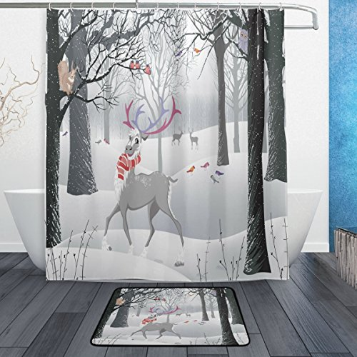 ALAZA Set of 2 Funny Reindeer Brich Tree 60 X 72 Inches Shower Curtain and Mat Set, Black and White Winter Forest Waterproof Fabric Bathroom Curtain and Rug Set with Hooks (Tree Brich)