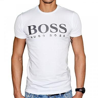 033a33d3d6a Hugo Boss - T Shirt Manches Courtes - Homme - Stripe 50249564 - Blanc Noir -