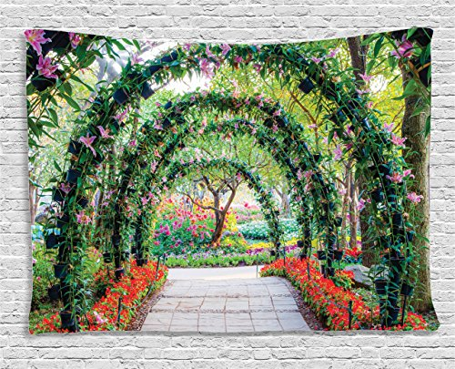 Ambesonne Country Home Decor Collection, Flower Arches with Pathway in Ornamental Plants Garden Greenery Romantic Picture, Bedroom Living Room Dorm Wall Hanging Tapestry, 80 X 60 inches, Green Red from Ambesonne