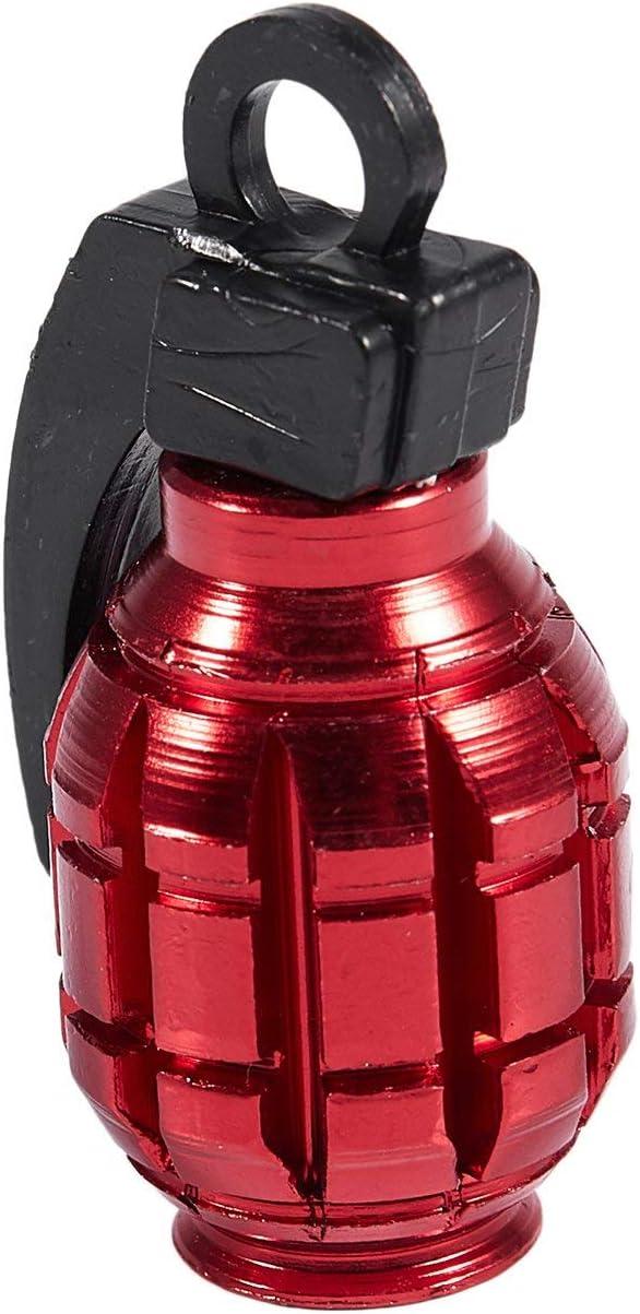 Ctzrzyt 2PCS Grenade Alloy Valve Caps Dust Covers Bike Bicycle MTB BMX Car RED