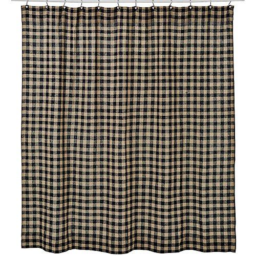 Gingham Shower Curtain (VHC Brands Classic Country Primitive Bath-Burlap Check Black Shower Curtain, 72 x 72,)