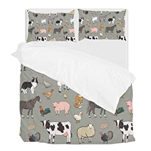 Cooper girl Farm Animals Duvet Cover Set Twin Soft Microfiber Polyester 1 Duvet Cover and 1 Pillow Sham Two Piece